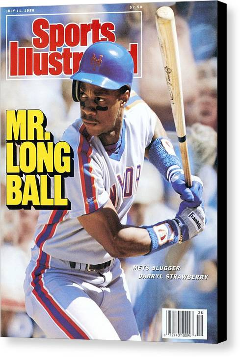 Magazine Cover Canvas Print featuring the photograph New York Mets Darryl Strawberry... Sports Illustrated Cover by Sports Illustrated