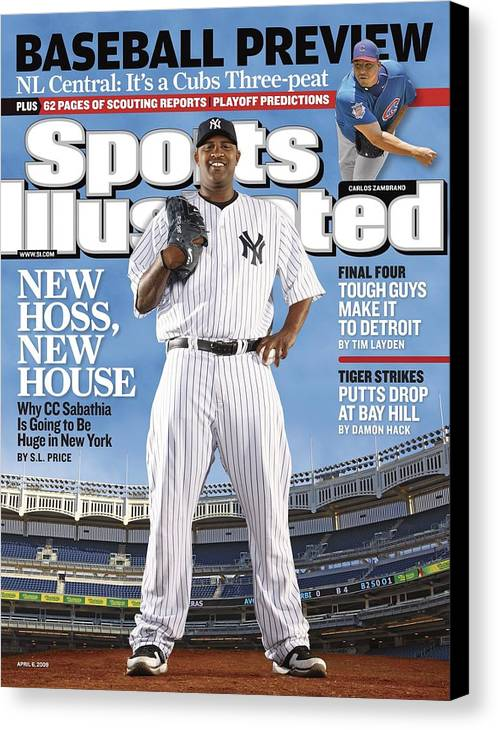 Magazine Cover Canvas Print featuring the photograph New York Yankees Cc Sabathia Sports Illustrated Cover by Sports Illustrated