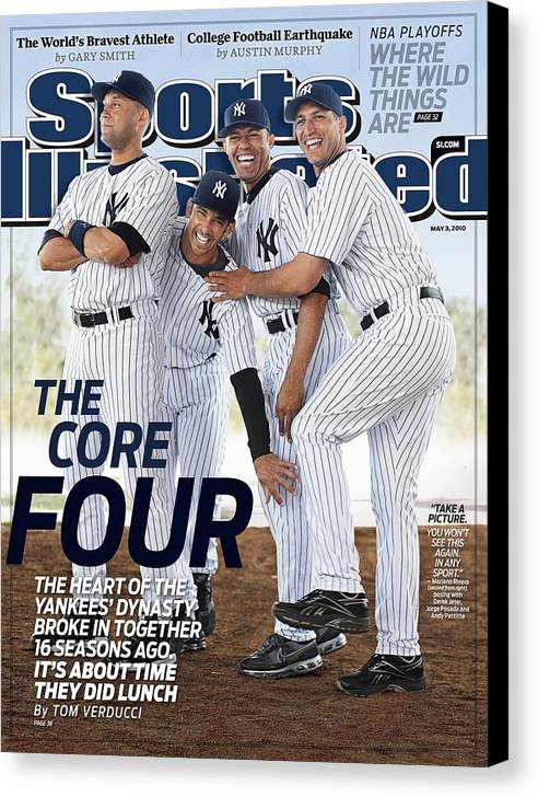 American League Baseball Canvas Print featuring the photograph New York Yankees Derek Jeter, Jorge Posada, Mariano Rivera Sports Illustrated Cover by Sports Illustrated