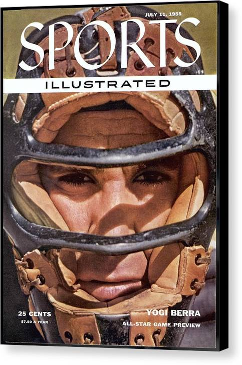 Magazine Cover Canvas Print featuring the photograph New York Yankees Yogi Berra Sports Illustrated Cover by Sports Illustrated