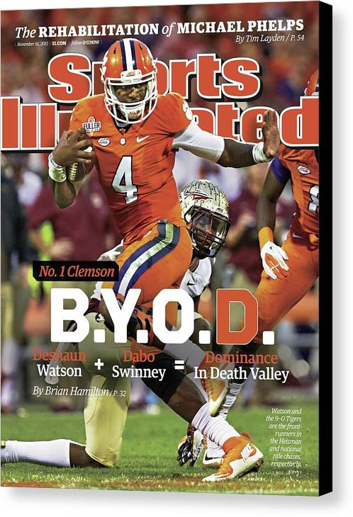 Magazine Cover Canvas Print featuring the photograph No.1 Clemson B.y.o.d. Sports Illustrated Cover by Sports Illustrated