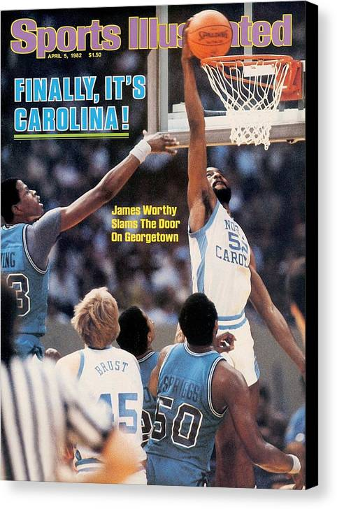 Magazine Cover Canvas Print featuring the photograph North Carolina James Worthy, 1982 Ncaa National Championship Sports Illustrated Cover by Sports Illustrated