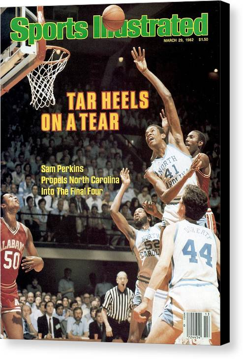 Playoffs Canvas Print featuring the photograph North Carolina Sam Perkins, 1982 Ncaa East Regional Playoffs Sports Illustrated Cover by Sports Illustrated