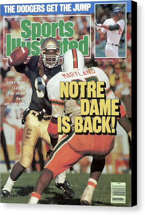 1980-1989 Canvas Print featuring the photograph Notre Dame Is Back Tony Rice Leads The Irish Past No. 1 Sports Illustrated Cover by Sports Illustrated