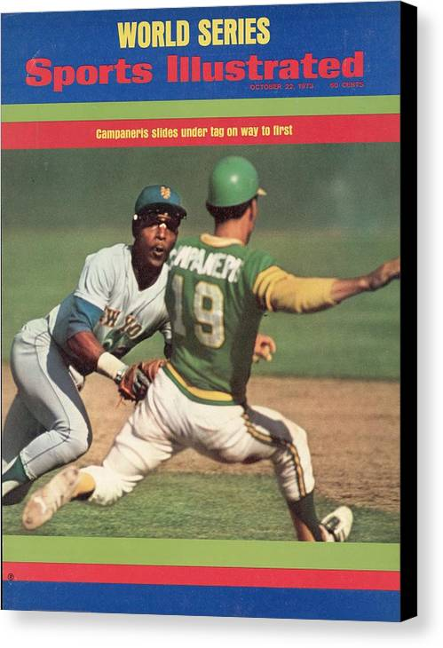 Magazine Cover Canvas Print featuring the photograph Oakland Athletics Bert Campaneris, 1973 World Series Sports Illustrated Cover by Sports Illustrated