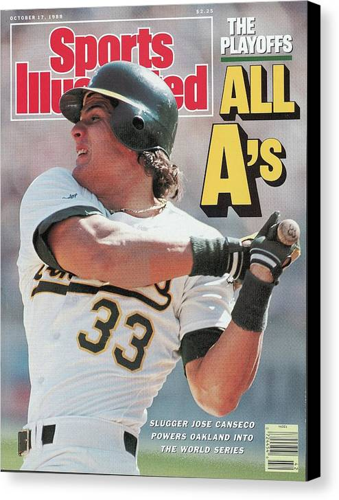 Playoffs Canvas Print featuring the photograph Oakland Athletics Jose Canseco, 1988 Al Championship Series Sports Illustrated Cover by Sports Illustrated