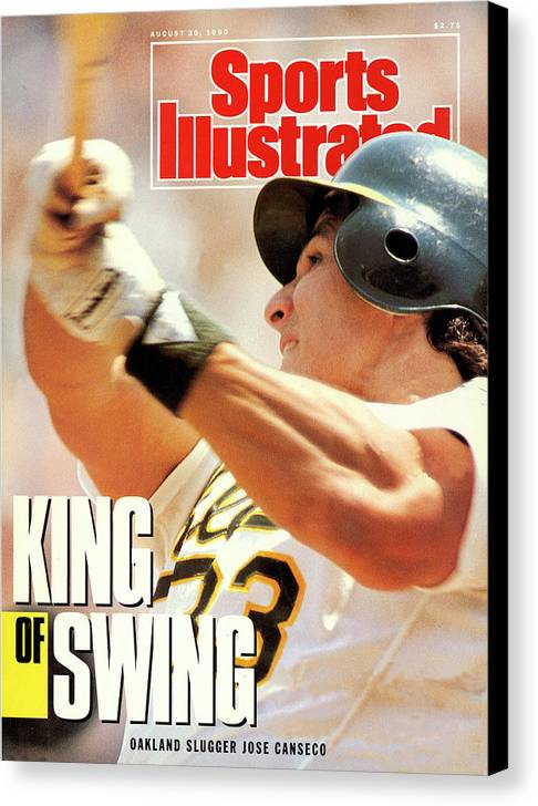 Magazine Cover Canvas Print featuring the photograph Oakland Athletics Jose Canseco Sports Illustrated Cover by Sports Illustrated