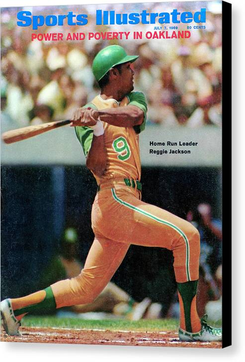American League Baseball Canvas Print featuring the photograph Oakland Athletics Reggie Jackson... Sports Illustrated Cover by Sports Illustrated
