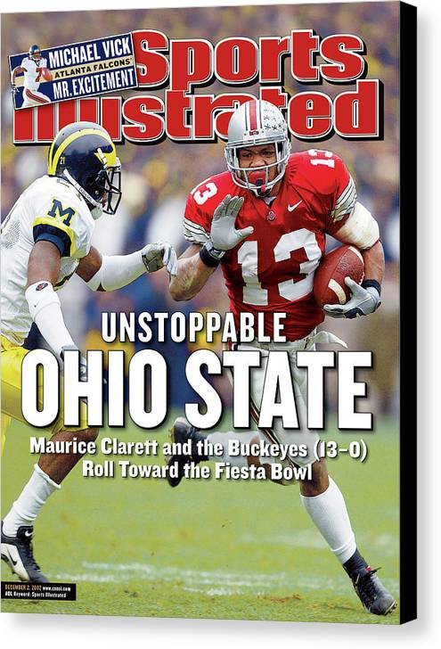 Sports Illustrated Canvas Print featuring the photograph Ohio State University Maurice Clarett Sports Illustrated Cover by Sports Illustrated