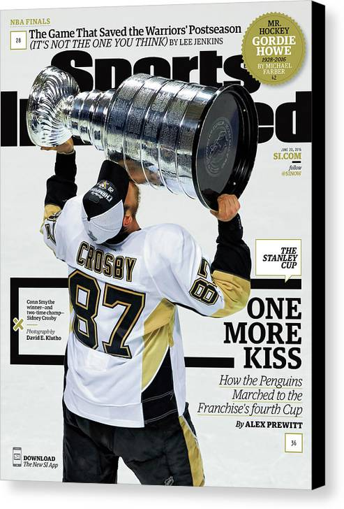 Magazine Cover Canvas Print featuring the photograph One More Kiss How The Penguins Marched To The Franchises Sports Illustrated Cover by Sports Illustrated