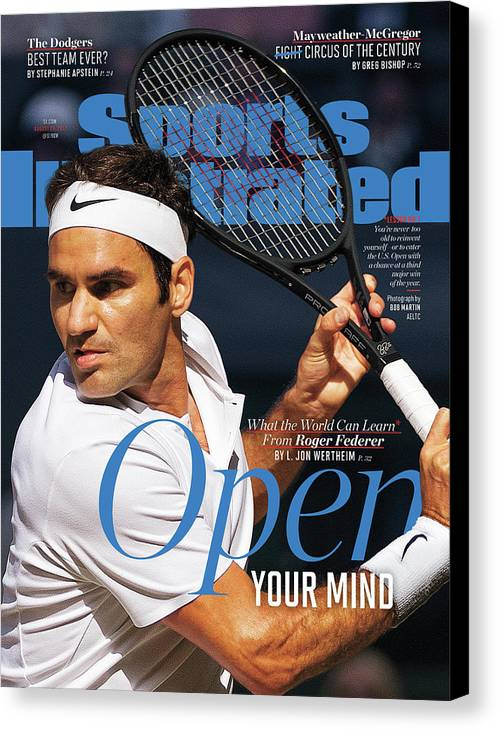 Tennis Canvas Print featuring the photograph Open Your Mind What The World Can Learn From Roger Federer Sports Illustrated Cover by Sports Illustrated
