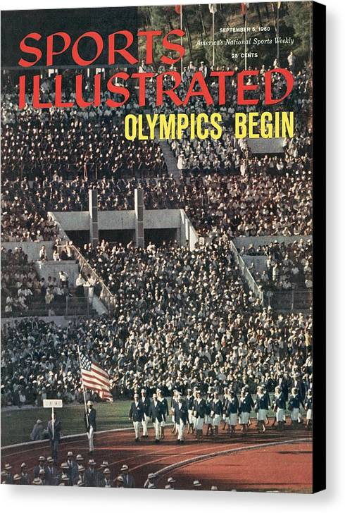 Magazine Cover Canvas Print featuring the photograph Opening Ceremony, 1960 Summer Olympics Sports Illustrated Cover by Sports Illustrated