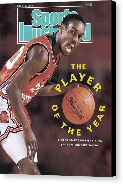 Magazine Cover Canvas Print featuring the photograph Oregon State Gary Payton Sports Illustrated Cover by Sports Illustrated