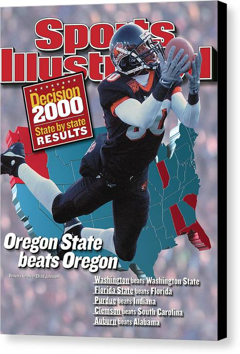 Magazine Cover Canvas Print featuring the photograph Oregon State University Chad Johnson Sports Illustrated Cover by Sports Illustrated