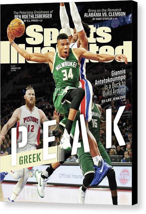 Magazine Cover Canvas Print featuring the photograph Peak Greek Giannis Antetokounmpo Is A Buck To Build Around Sports Illustrated Cover by Sports Illustrated