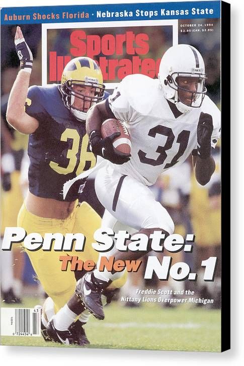 Michigan Canvas Print featuring the photograph Penn State University Freddie Scott Sports Illustrated Cover by Sports Illustrated