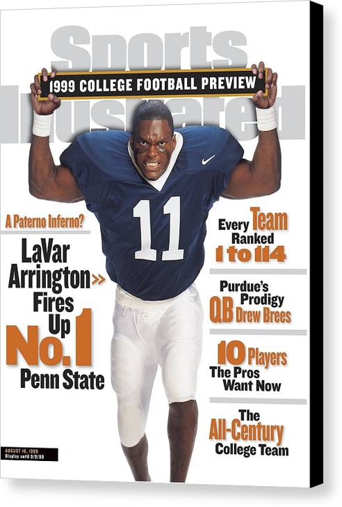 Season Canvas Print featuring the photograph Penn State University Lavar Arrington, 1999 College Sports Illustrated Cover by Sports Illustrated