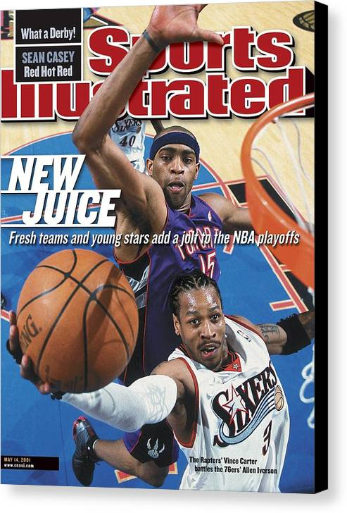 Playoffs Canvas Print featuring the photograph Philadelphia 76ers Allen Iverson, 2001 Nba Eastern Sports Illustrated Cover by Sports Illustrated