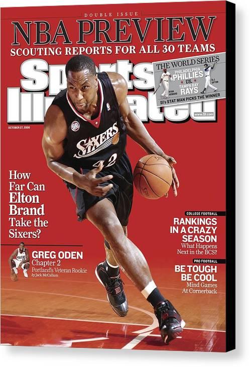 Magazine Cover Canvas Print featuring the photograph Philadelphia 76ers Elton Brand... Sports Illustrated Cover by Sports Illustrated