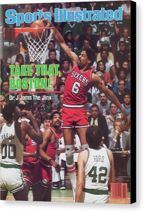 Magazine Cover Canvas Print featuring the photograph Philadelphia 76ers Julius Erving, 1982 Nba Eastern Sports Illustrated Cover by Sports Illustrated