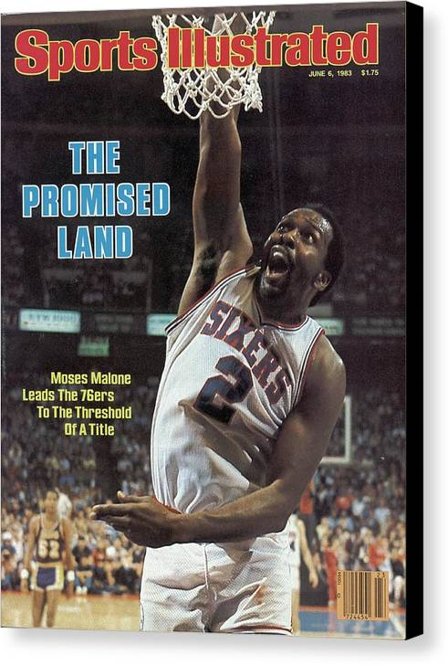 Magazine Cover Canvas Print featuring the photograph Philadelphia 76ers Moses Malone, 1983 Nba Finals Sports Illustrated Cover by Sports Illustrated