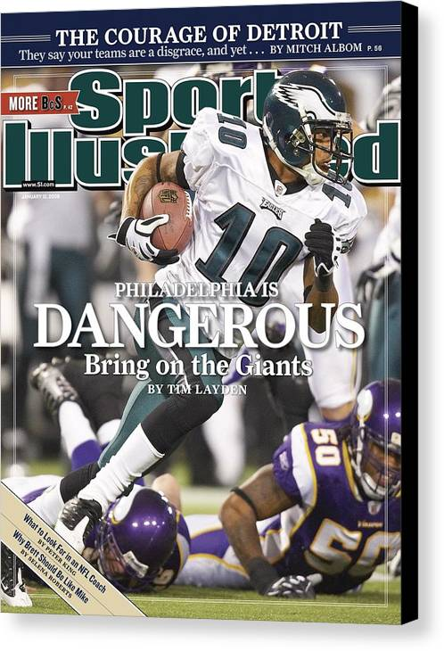 Hubert H. Humphrey Metrodome Canvas Print featuring the photograph Philadelphia Eagles Desean Jackson, 2009 Nfc Wild Card Sports Illustrated Cover by Sports Illustrated