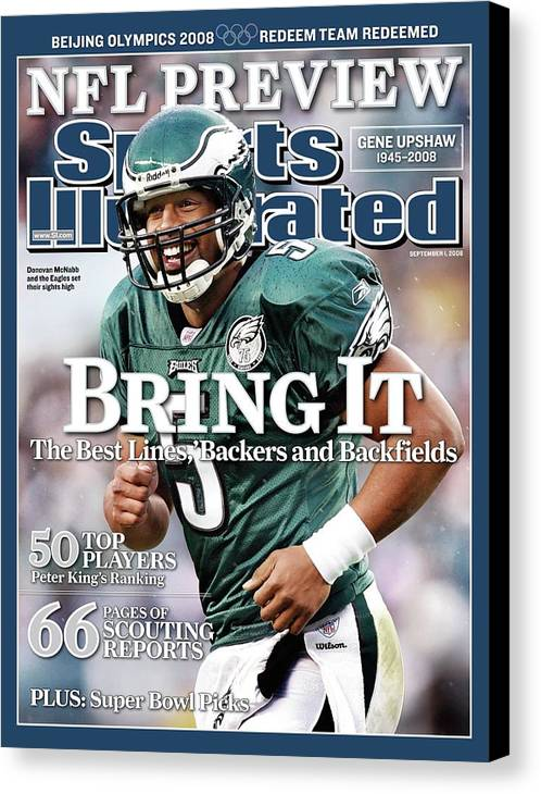 Magazine Cover Canvas Print featuring the photograph Philadelphia Eagles Qb Donovan Mcnabb, 2008 Nfl Football Sports Illustrated Cover by Sports Illustrated
