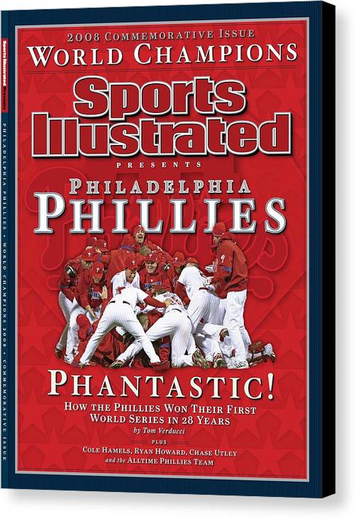 Magazine Cover Canvas Print featuring the photograph Philadelphia Phillies Vs Tampa Bay Rays, 2008 World Series Sports Illustrated Cover by Sports Illustrated