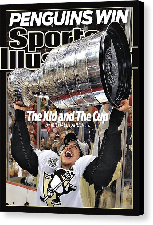 Magazine Cover Canvas Print featuring the photograph Pittsburgh Penguins Sidney Crosby, 2009 Nhl Stanley Cup Sports Illustrated Cover by Sports Illustrated