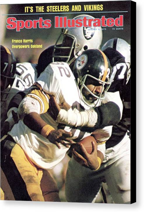 Magazine Cover Canvas Print featuring the photograph Pittsburgh Steelers Franco Harris, 1974 Afc Championship Sports Illustrated Cover by Sports Illustrated
