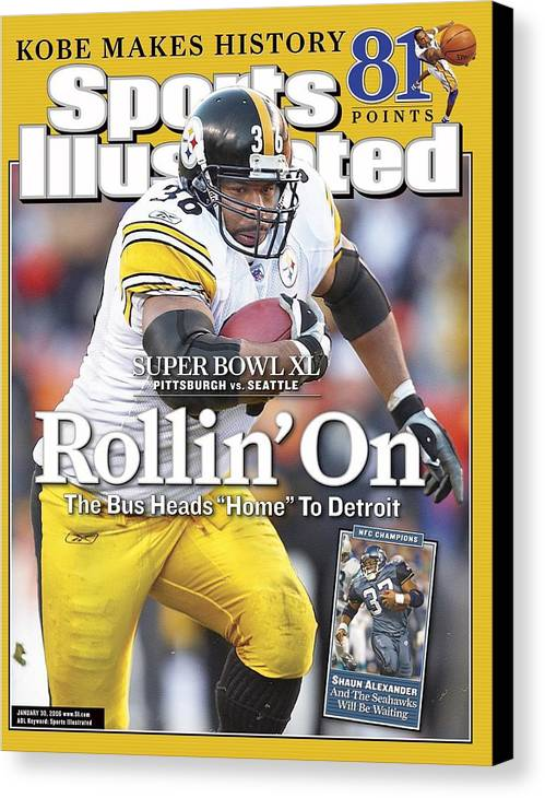 Magazine Cover Canvas Print featuring the photograph Pittsburgh Steelers Jerome Bettis, 2006 Afc Championship Sports Illustrated Cover by Sports Illustrated