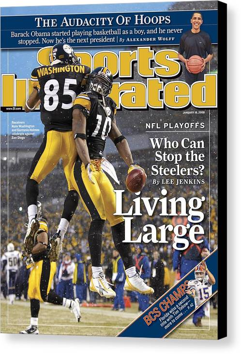Magazine Cover Canvas Print featuring the photograph Pittsburgh Steelers Nate Washington And Santonio Holmes Sports Illustrated Cover by Sports Illustrated