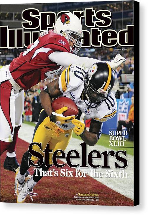 Magazine Cover Canvas Print featuring the photograph Pittsburgh Steelers Santonio Holmes, Super Bowl Xliii Sports Illustrated Cover by Sports Illustrated