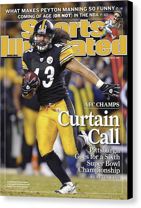 Magazine Cover Canvas Print featuring the photograph Pittsburgh Steelers Troy Polamalu, 2009 Afc Championship Sports Illustrated Cover by Sports Illustrated