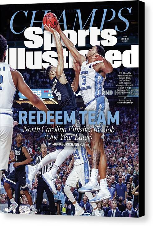 Sports Illustrated Canvas Print featuring the photograph Redeem Team North Carolina Finishes The Job one Year Later Sports Illustrated Cover by Sports Illustrated