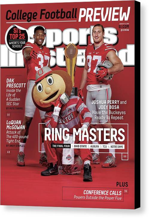 Magazine Cover Canvas Print featuring the photograph Ring Masters 2015 College Football Preview Issue Sports Illustrated Cover by Sports Illustrated