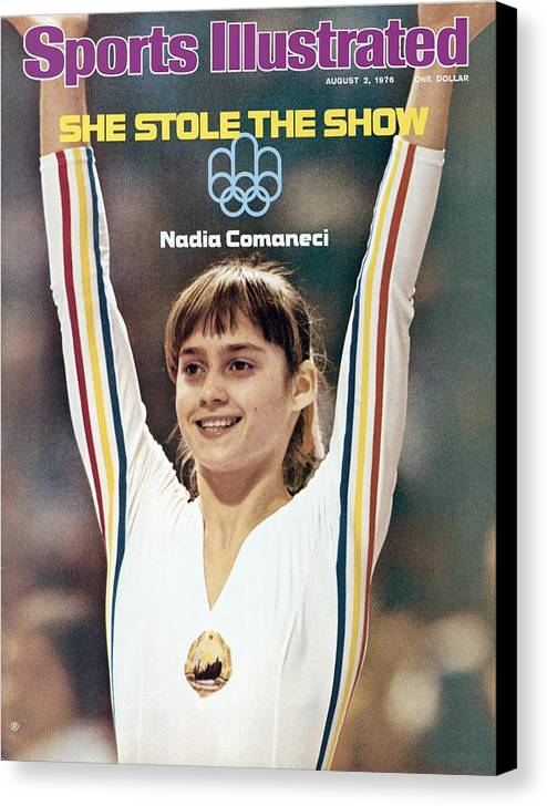 Magazine Cover Canvas Print featuring the photograph Romania Nadia Comaneci, 1976 Summer Olympics Sports Illustrated Cover by Sports Illustrated