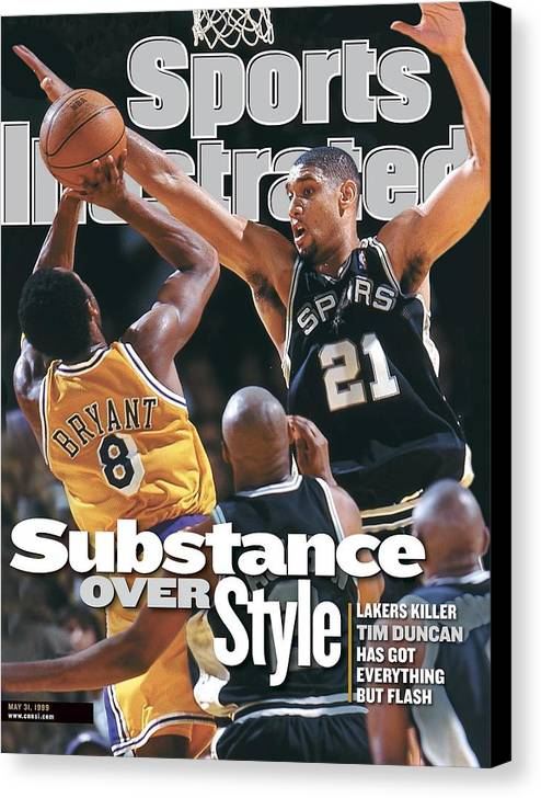Playoffs Canvas Print featuring the photograph San Antonio Spurs Tim Duncan, 1999 Nba Western Conference Sports Illustrated Cover by Sports Illustrated
