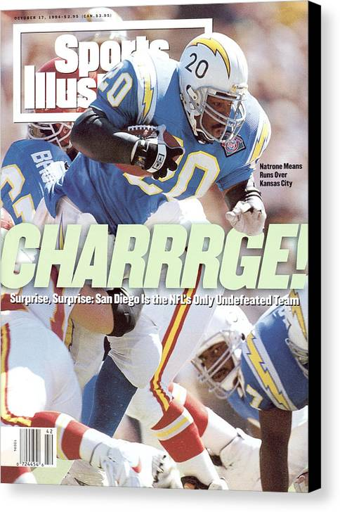 California Canvas Print featuring the photograph San Diego Chargers Natrone Means... Sports Illustrated Cover by Sports Illustrated