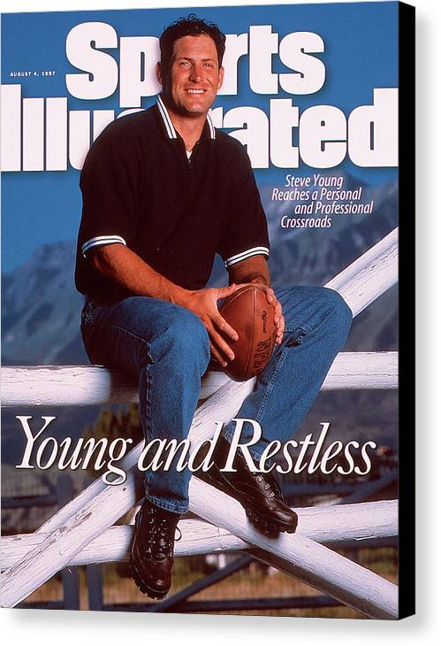 Magazine Cover Canvas Print featuring the photograph San Francisco 49ers Qb Steve Young Sports Illustrated Cover by Sports Illustrated