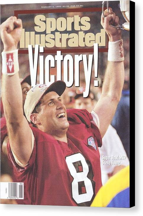 Magazine Cover Canvas Print featuring the photograph San Francisco 49ers Qb Steve Young, Super Bowl Xxix Sports Illustrated Cover by Sports Illustrated