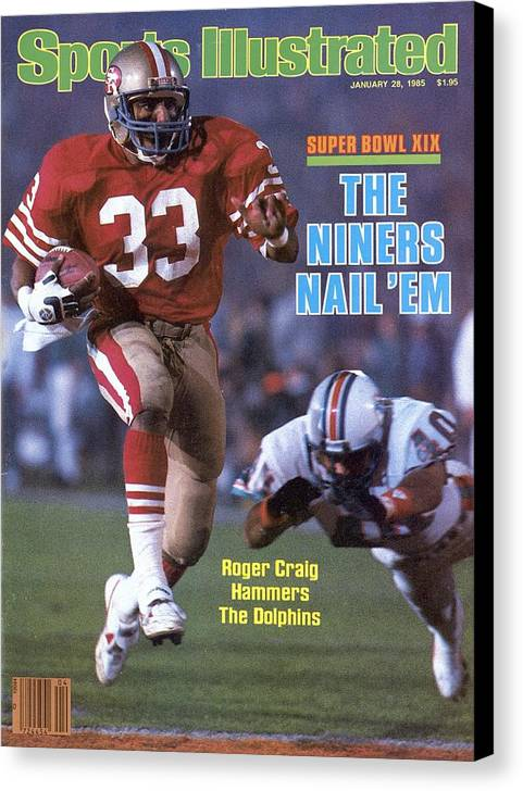 1980-1989 Canvas Print featuring the photograph San Francisco 49ers Roger Craig, Super Bowl Xix Sports Illustrated Cover by Sports Illustrated