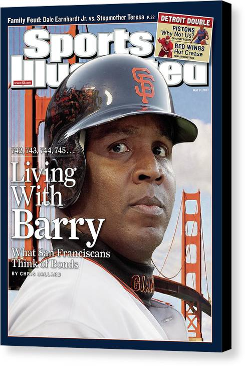 Los Angeles Dodgers Canvas Print featuring the photograph San Francisco Giants Barry Bonds Sports Illustrated Cover by Sports Illustrated