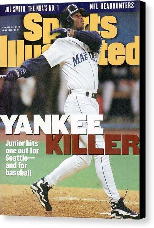 Magazine Cover Canvas Print featuring the photograph Seattle Mariners Ken Griffey Jr, 1995 Al Division Series Sports Illustrated Cover by Sports Illustrated
