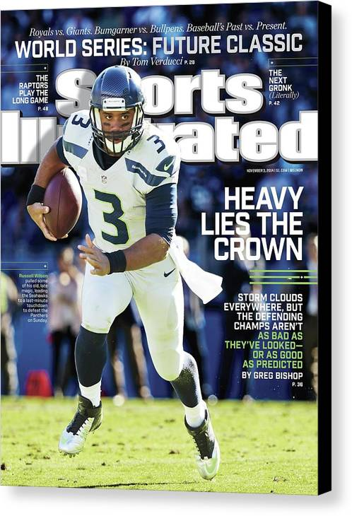 Magazine Cover Canvas Print featuring the photograph Seattle Seahawks Heavy Lies The Crown Sports Illustrated Cover by Sports Illustrated