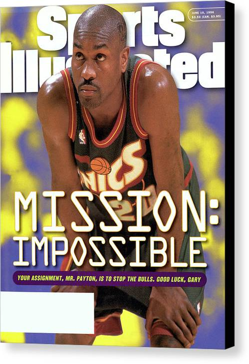 Playoffs Canvas Print featuring the photograph Seattle Supersonics Gary Payton, 1996 Nba Western Sports Illustrated Cover by Sports Illustrated