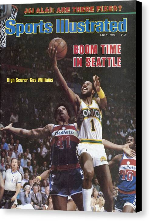 Playoffs Canvas Print featuring the photograph Seattle Supersonics Gus Williams, 1979 Nba Finals Sports Illustrated Cover by Sports Illustrated