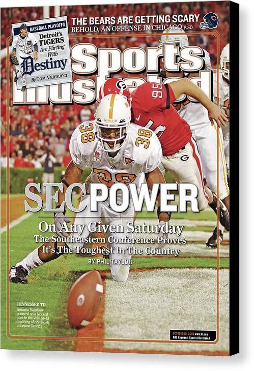 Magazine Cover Canvas Print featuring the photograph Sec Power On Any Given Saturday The Southeastern Conference Sports Illustrated Cover by Sports Illustrated