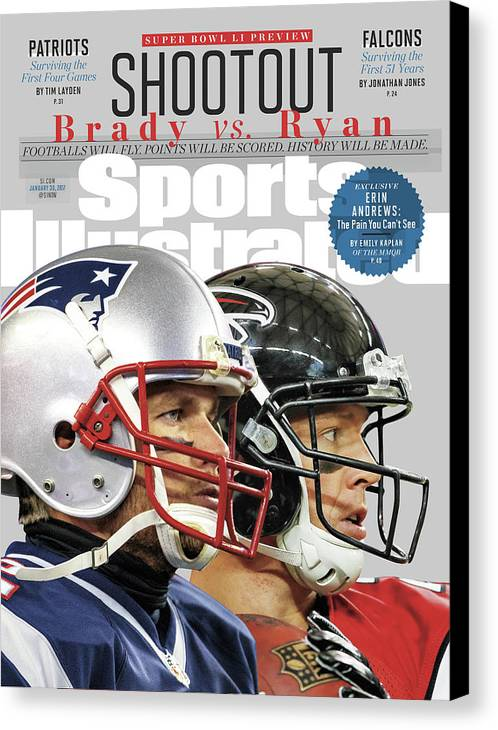 Playoffs Canvas Print featuring the photograph Shootout Super Bowl Li Preview Sports Illustrated Cover by Sports Illustrated