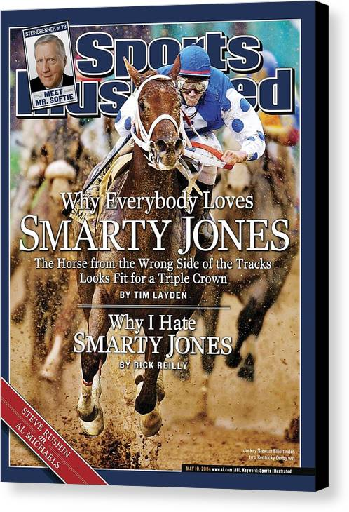 Horse Canvas Print featuring the photograph Smarty Jones, 2004 Kentucky Derby Sports Illustrated Cover by Sports Illustrated